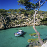 Boat Anchored in Rocky Inlet  Cala Pi  Mallorca  Balearic Islands  Spain  Mediterranean
