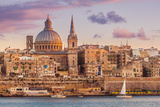 Valletta Skyline at Sunset with the Carmelite Church Dome and St Pauls Anglican Cathedral