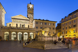 Baroque Fountain and Santa Maria in Trastevere at Night
