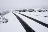 Car Tyre Tracks on a Snowy Road on the Mynydd Epynt Moorland  Powys  Wales  United Kingdom
