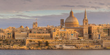 Valletta Skyline Panorama at Sunset with the Carmelite Church Dome and St Pauls Anglican Cathedral