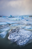 Frozen Icebergs in the Frozen Waters of Fjallsarlon Glacier Lagoon  South East Iceland  Iceland