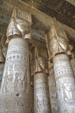 Hathor-Headed Columns  Hypostyle Hall  Temple of Hathor  Dendera  Egypt  North Africa  Africa