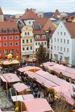 Overview of the Christmas Market in Neupfarrplatz  Regensburg  Bavaria  Germany  Europe