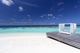 Sofa at the Beach in the Maldives  Indian Ocean