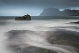 Water Breaks over Rocks at Uttakleiv  Lofoten Islands  Arctic  Norway  Scandinavia  Europe