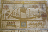 Bas-Relief of Sacred Barque Boat  Temple of Seti I  Abydos  Egypt  North Africa  Africa