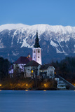 The Assumption of Mary Pilgrimage Church on Lake Bled at Dusk  Bled  Slovenia  Europe