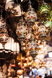 Mosaic Glass Turkish Lights on Display  Grand Bazaar (Kapali Carsi)  Istanbul  Turkey