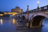Ponte Sant'Angelo on the River Tiber and the Castel Sant'Angelo at Night  Rome  Lazio  Italy