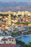 Elevated View over Split's Picturesque Stari Grad and Harbour Illuminated at Sunset