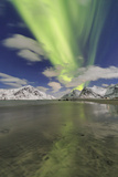 Northern Lights (Aurora Borealis) on Skagsanden Sky  Lofoten Islands  Arctic  Norway  Scandinavia