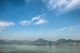 Qiantang River  Hills and High Rises of Hangzhou  Zhejiang  China