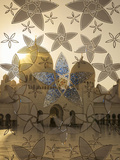 Decorated Glass Door in Sheikh Zayed Grand Mosque  Abu Dhabi  United Arab Emirates  Middle East