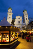 Christmas Market in Front of the Cathedral of Saint Stephan  Passau  Bavaria  Germany  Europe