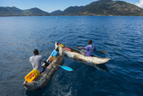 Fishermen on their Canoes Going Fishing  Cape Malcear  Lake Malawi  Malawi  Africa