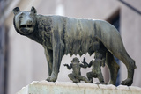 Bronze Sculpture of the She-Wolf with Romulus and Remus  Rome  Lazio  Italy