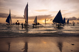 Paraw Boats  White Beach  Boracay  the Visayas  Philippines  Southeast Asia  Asia