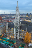 Overview of the Marienplatz Christmas Market and the New Town Hall  Munich  Bavaria  Germany