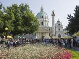 Buskers Festival at St Charles' Church (Karlskirche)  Resselpark  Karlsplatz  Vienna  Austria