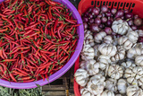Red Chillies  Onions  and Garlic for Sale at Fresh Food Market in Chau Doc