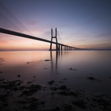 Vasco Da Gama Bridge over Rio Tejo (Tagus River) at Dawn  Lisbon  Portugal