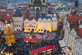 Overview of the Christmas Market and the Church of Our Lady of Tyn on the Old Town Square