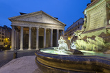 The Pantheon and Fountain at Night  Piazza Della Rotonda  Rome  Lazio  Italy