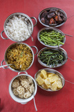 Bhutanese Dishes Served at a Restaurant in Thimphu Rice and Vegetables Including Chilli  Bhutan