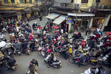 Busy Traffic in the Old Quarter  Hanoi  Vietnam  Indochina  Southeast Asia  Asia