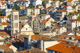 Elevated View over the Picturesque Harbour Town of Hvar  Hvar  Dalmatia  Croatia  Europe
