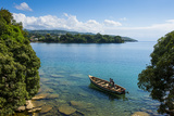 View over a Canoe on Nkhata Bay  Lake Malawi  Malawi  Africa