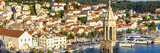 Elevated View over the Picturesque Harbour Town of Hvar  Hvar  Dalmatia  Croatia  Europe