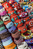 Detail of Bracelets and Rings at the Tibetan Market in Wednesday Flea Market in Anjuna  Goa  India