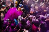 Lathmar Holi Celebrations in Bankei Bihari Temple  Vrindavan  Braj  Uttar Pradesh  India  Asia