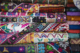 Colourful Hand Woven Fabrics at Mapusa Market  Goa  India  Asia