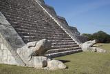 Serpent Heads  El Castillo (Pyramid of Kulkulcan)  Chichen Itza  Yucatan  Mexico  North America