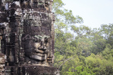 Buddha Face Carved in Stone at the Bayon Temple  Angkor Thom  Angkor  Cambodia