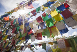 The Tibetan Prayer Flags Made of Colored Cloth