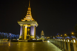 Night Photograph of the Statue of Norodom Sihanouk  Phnom Penh  Cambodia  Indochina