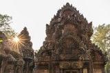 Ornate Carvings in Red Sandstone at Sunset in Banteay Srei Temple in Angkor  Siem Reap  Cambodia