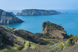 View over the East Coast of Sark and the Island Brecqhou  Channel Islands  United Kingdom