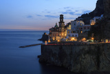 Amalfi Coast Road Light Trails from Cars with Church of Santa Maria Maddalena at Blue Hour