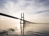 Vasco Da Gama Bridge over Rio Tejo (Tagus River) at Dawn  Lisbon  Portugal