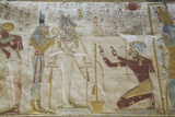 Bas-Relief of the Kneeling Pharaoh Seti I  Temple of Seti I  Abydos  Egypt  North Africa  Africa