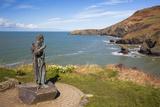 Statue of St Carannog  Llangrannog Beach  Ceredigion (Cardigan)  West Wales  Wales  UK