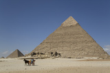 Horsecart and Pyramid of Chephren  the Giza Pyramids  Giza  Egypt  North Africa  Africa
