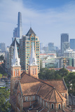 View of Notre Dame Cathedral and City Skyline  Ho Chi Minh City  Vietnam  Indochina