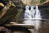Stone Slabs and Goitstock Waterfall  Cullingworth  Yorkshire  England  United Kingdom  Europe