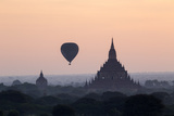 Hot Air Balloon over Temples on a Misty Morning at Dawn  Bagan (Pagan)  Myanmar (Burma)